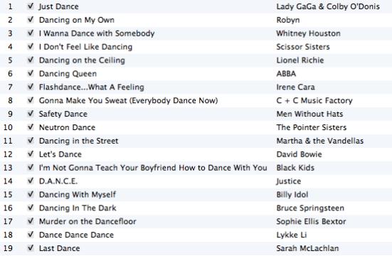 Just Dance playlist